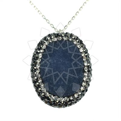 Single Drop Gem and Crystal Necklace