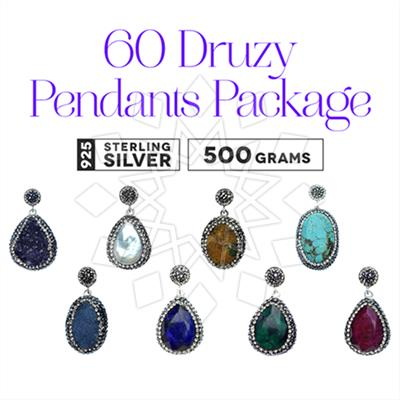 Single Drop Gem and Crystal Pendant 60 Pack