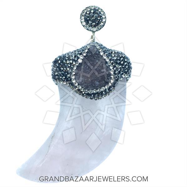 Single Drop Gem and Crystal Pendant