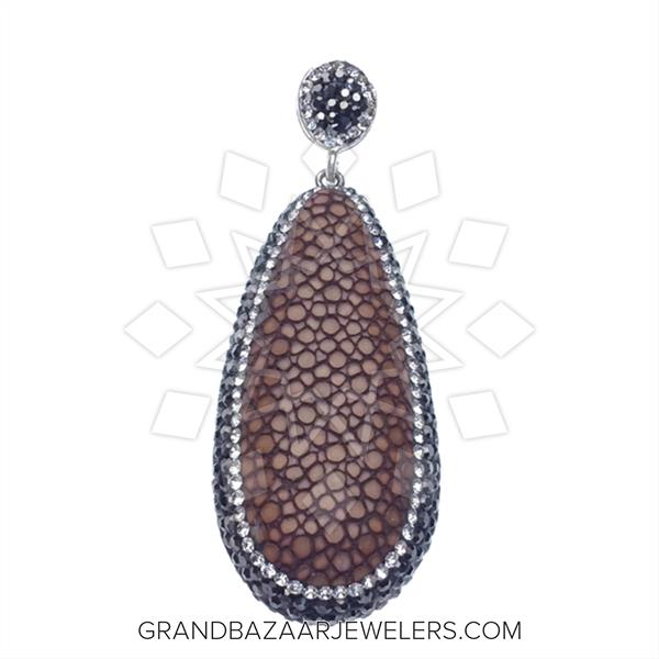 Stingray Leather and Gem Pendant