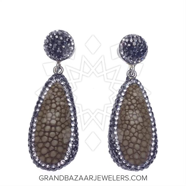 Stingray Leather and Gem Earrings
