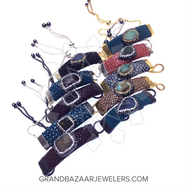 Stingray Leather and Gem 10 Mixed Bracelets