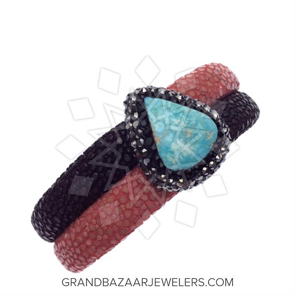 Stingray Leather and Gem Bracelets
