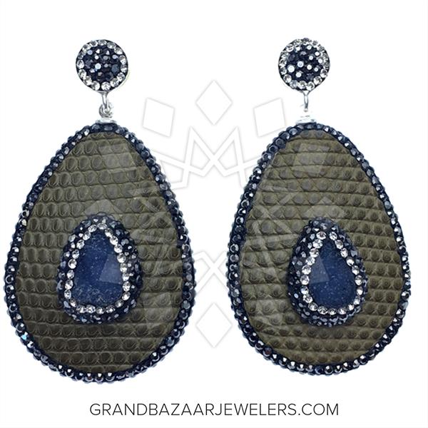 Gem and Crystal Leather Earrings