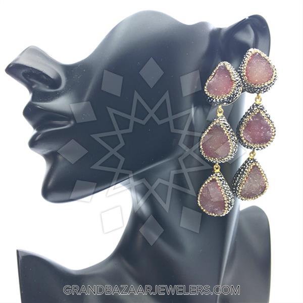 Triple Drop Gemstone Earrings