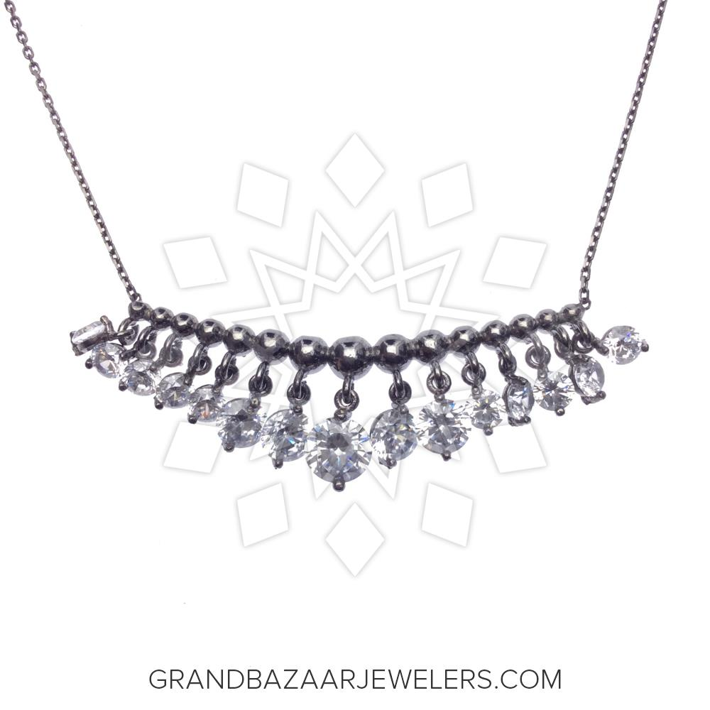 bd01a108d3b538 Customize & Buy Classic 925 Sterling Silver Necklace - GBJ1NC4061-1 Clear  Cubic Zirconia Online at Grand Bazaar Jewelers