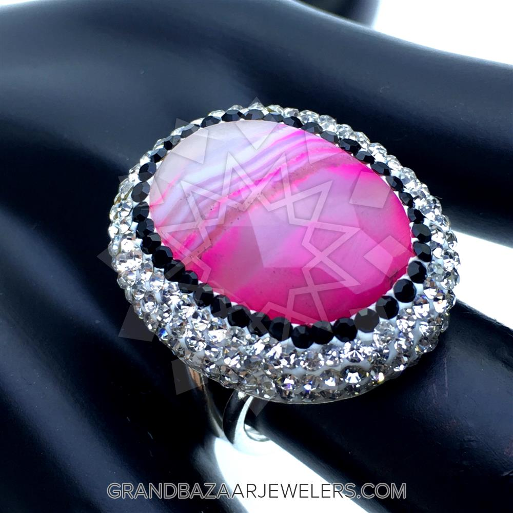 Customize & Buy Crystal Clear Druzy Rings Pink Agate Online at Grand ...