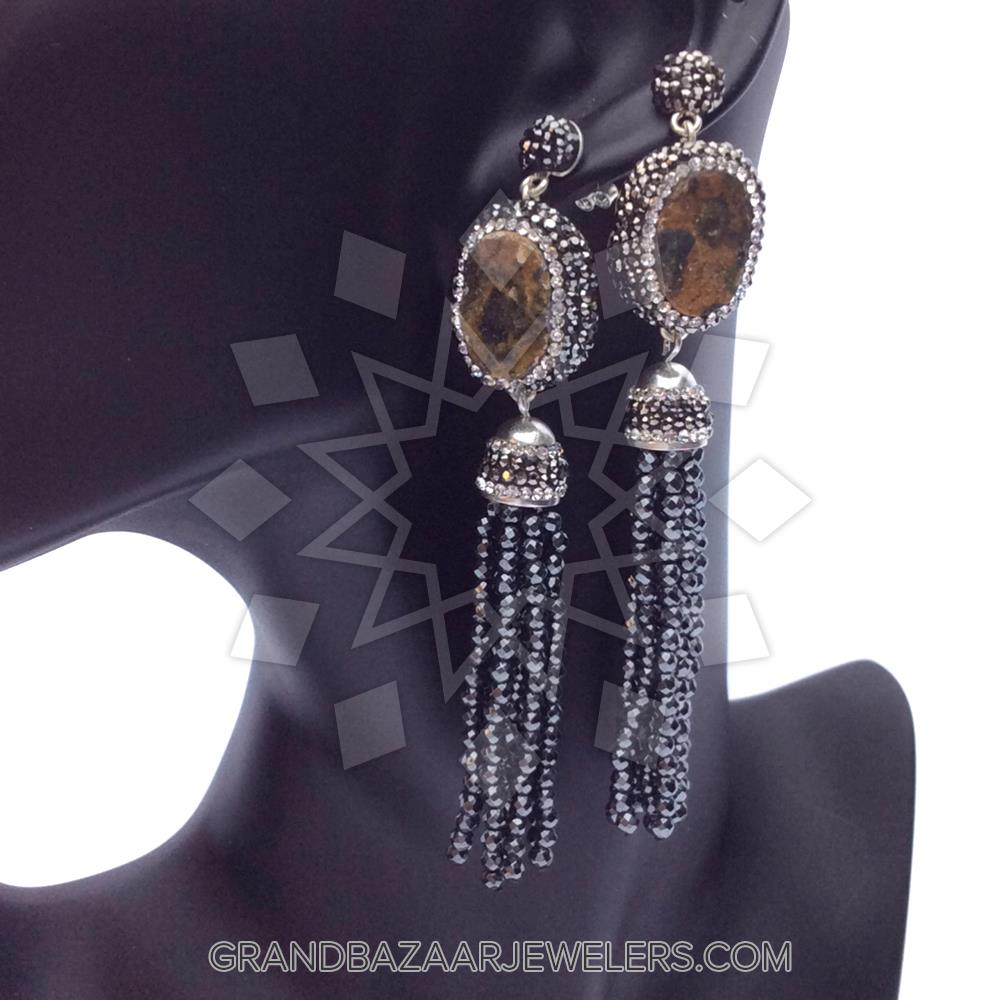 ac8d6a70c Customize & Buy Gem and Crystal Tassel Fringe Earrings Online at Grand  Bazaar Jewelers