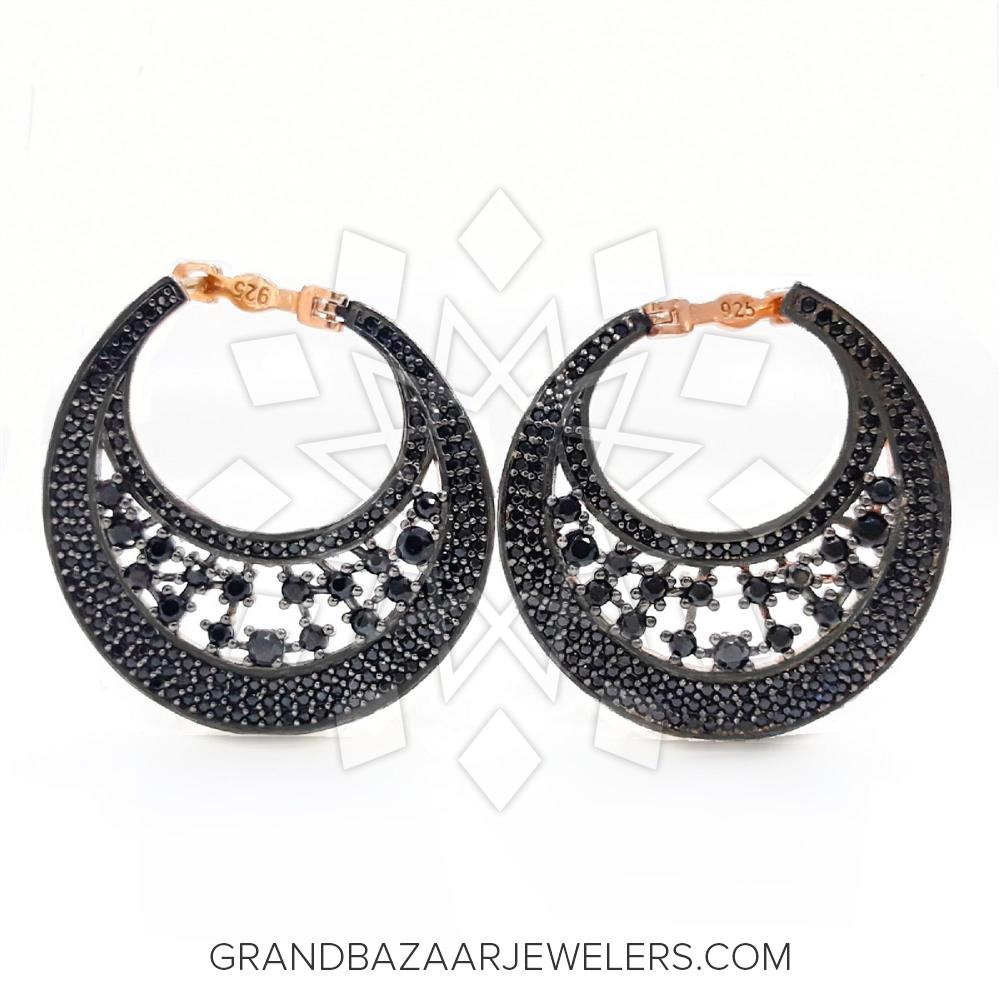 f42b7ac31 Customize & Buy Modern 925 Sterling Silver Statement Earring Earrings-  Black Cubic Zirconia Online at Grand Bazaar Jewelers - GBJ1ER8630-1