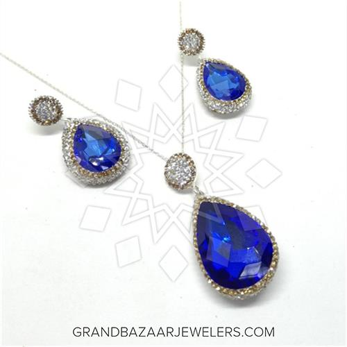 930d4ab86 Semi Precious Gems and Crystal 925 Sterling Silver Earrings Necklace Sets