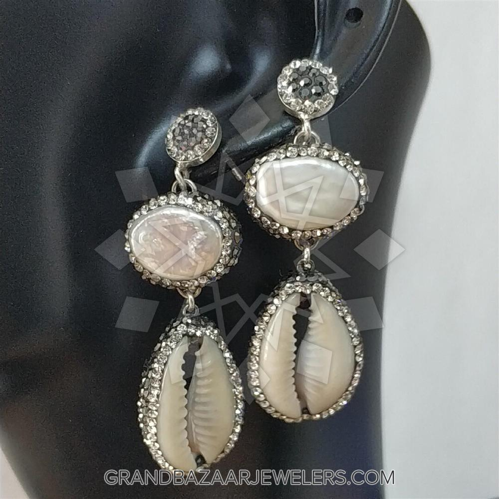e35b73c6a3 Customize & Buy Semi Precious Gems and Crystal 925 Sterling Silver Earrings-  Baroque Cultured PearlMother of Pearl Online at Grand Bazaar Jewelers ...