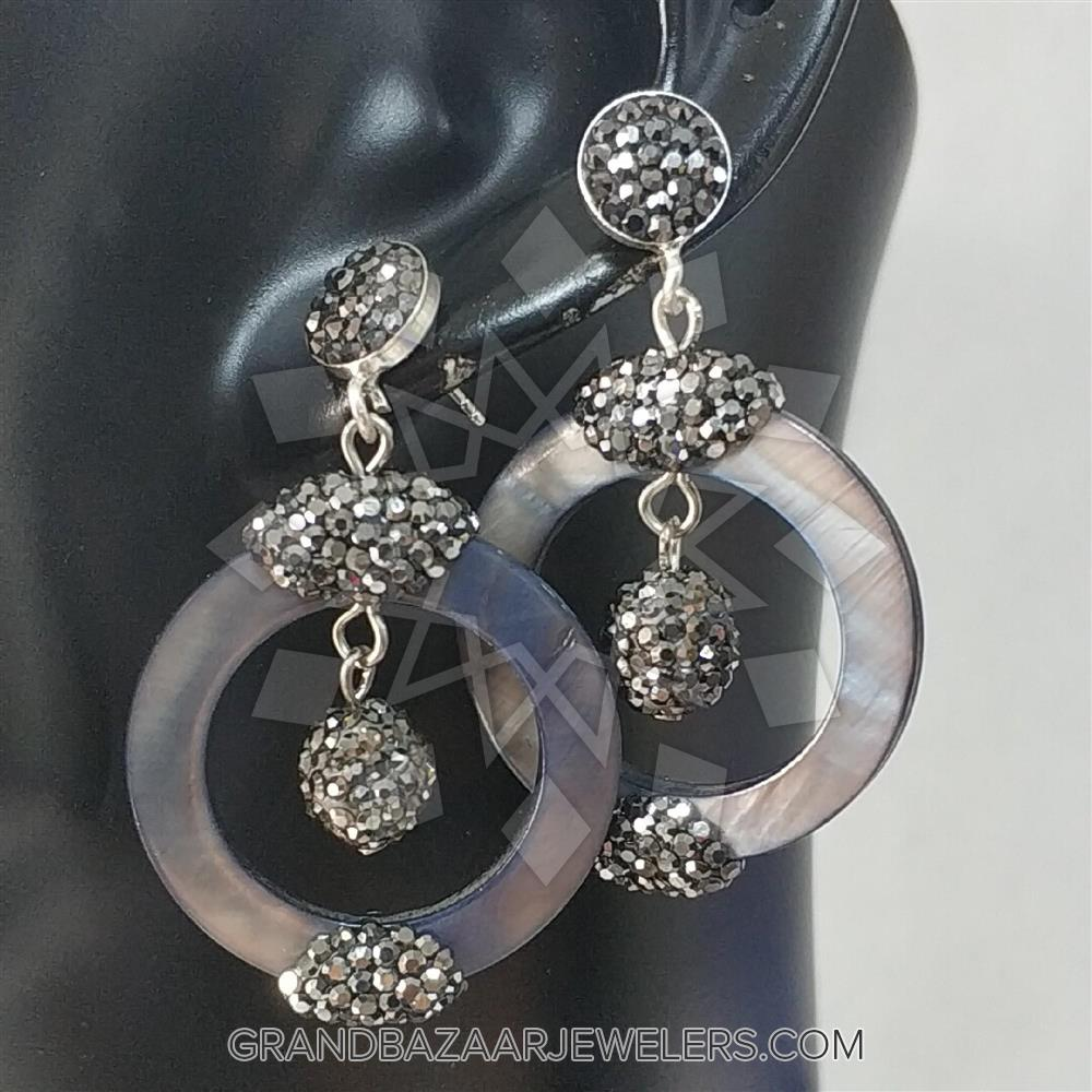 ce0bab2fa6 Customize & Buy Semi Precious Gems and Crystal 925 Sterling Silver Earrings-  Mother of Pearl Online at Grand Bazaar Jewelers - GBJ1ER8208-1